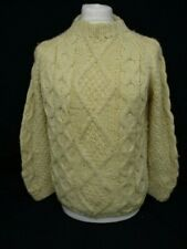 Aran Cable Knit Sweater, VALENTINA Chunky Hand Knit Jumper, Large, 50cm Wide