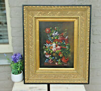 Flemish school oil panel still life flower bouquet signed framed 1950