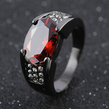 Fashion Men's Size 12 Halo Garnet Black 18K Gold Filled Solitaire Wedding Ring