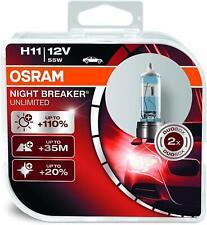 OSRAM Halogen H11 Night Breaker Unlimited Globe (PK 2)  PGJ19-2 12V 55W (64211NB
