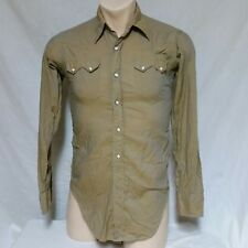 VTG Levis Sanforized Pearl Snap Shirt Saw Tooth Western Wear 60s Cowboy Medium