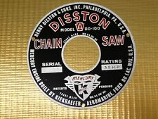 DISSTON MODEL DO-100 DO 100 CHAINSAW STARTER PLAQUE RING NAME TAG