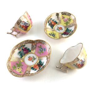 Vintage Japanese Hokutosha Porcelain Miniature Dresden Style Cup & Saucer Set