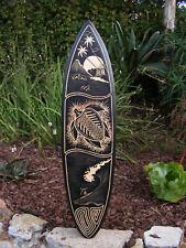 "Turtle Island Surfing Wood Surfboard Wall Plaque Tribal Tiki Bar Tropical 39"""