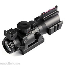 Hunting 4 X 32 Compact Red Dot Rifle Scope Fiber Sight for 20MM Rail