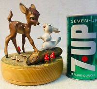 """RARE OFFERING - Vintage Disney Anri Reuge """"Bambi and Thumper"""" Music Box"""