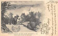 PRESIDENT McKINLEY ON GOAT ISLAND NEW YORK TO AUSTRIA POSTCARD 1904