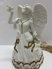 """Guardian Angel Fairy Lamp Holding Dove Nightlight Electric Vintage 9"""" Tall White"""