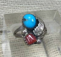 Vintage Sterling Ring Southwestern Turquoise & Coral Feather SZ 6.5
