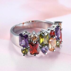 Hot Rainbow Multi Amethyst Peridot Garnet Morganite Silver Woman Rings Size 6-10