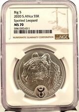 2020 South Africa Big 5 Spotted Leopard 1 oz 999 Silver Coin - NGC MS 70