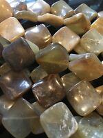 "16"" Strand Antiqued Jade Puff Twist Square Beads (16 PCS) 20mm UK EBAYER"