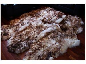 Genuine sexto 6 sheepskin rug carpet white-brown real fluffy wool 100%