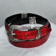 Brighton Women's Reversible Black Red Croc-Embossed Leather Belt Sz 32/ML #43101