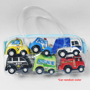Set of 6 Pull Back Cars Toys Push and Go Friction Powered For Baby Toddler Toy