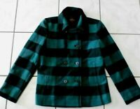 NWOT J. CREW Wool Black Green BUFFALO CHECK PLAID Double Breasted COAT Jacket 14