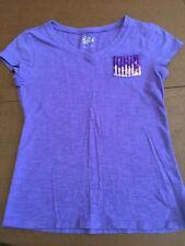 Justice Girls Purple V Neck T-Shirt With Sequin Pocket, Size 12