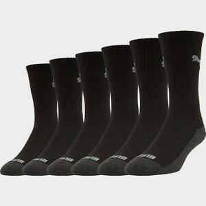 Men's Puma 6-Pack Crew Socks Half Terry Mid Calf Black Grey Size 10-13