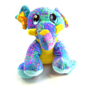 "Adorable Fiesta Blue Elephant Plush Stuffed Animal Big Eyes Multi-Color 8"" HOLI"