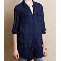 Anthropologie Holding Horses Sunwashed Button Down Tunic Women Size XS Navy Blue