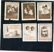Vintage Poster Stamp Label set of 6 MELLIN'S MILK MODIFICATION Children Food
