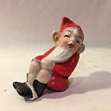 "Vtg MCM Xmas Red Sitting Reclining Elf Pixie Ceramic Figurine Porcelain Japan 3"""