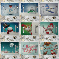 LN_ AM_ Linen Xmas Snowman Placemat Pad Dining Table Insulation Mat Home DecoR