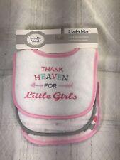 Luvable Friends 3 Pack Baby Girl Infant Feeding Feeder Bib Bibs Pink Hearts