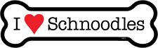 "I Heart (Love) Schnoodles Dog Bone Car Magnet 2"" x 7"" Usa Made"
