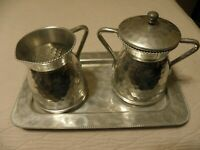 Vintage hammered aluminum creme & sugar set with serving tray, marked Cromwell