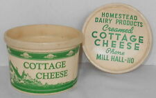 HOMESTEAD DAIRY PRODUCTS MILL HALL PA VINTAGE RARE COTTAGE CHEESE WAX BOX