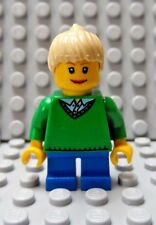 LEGO Minifig Girl Green Top Blue Short Legs Smiling Face Blonde Ponytail