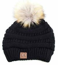 DKNY Girls Knit Beanie Hat w//Double Pompom Ears with Gloves