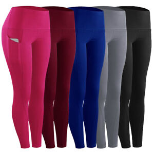 Damen Leggings mit Tasche Laufhose Trainingshosen Fitness Sporthose Yoga Leggins