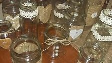 12 wedding/Engagement/Party Rustic Hand Decorated Jars Table for  Centrepiece