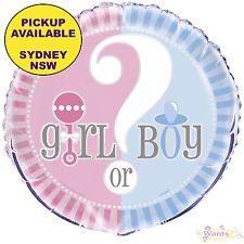 GENDER REVEAL GIRL OR BOY BABY SHOWER PARTY SUPPLIES FOIL BALLOON DECORATIONS
