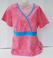 Plus Size Liana Women's Hearts Mock Wrap Scrub Top Waist Sash Tie Back 2Xl Nurse