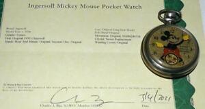 "DISNEY 1934 INGERSOLL""MICKEY MOUSE POCKET WATCH""-DETAIL SERVICE+COA+FOB & STRAP!"