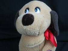 I'M JUST LOVE MACHINE VALENTINES BROWN TAN PUPPY DOG RED BOW PLUSH MUSICAL SONG