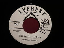 """Gloria Lynne """"Without a Song/Serenade in Blue"""" 45 WHITE LABEL PROMO"""