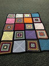 "Handmade Crocheted Granny Square Blanket Afghan Multicolor 55"" X 72"""