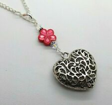Swarovski Elements Crystal RED FLOWER & TIBETAN SILVER HEART Car Mirror Charm