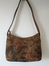 Fossil Purse Brown Leather Floral Handbag Shoulder Bag 75082 Tapestry Vtg Small