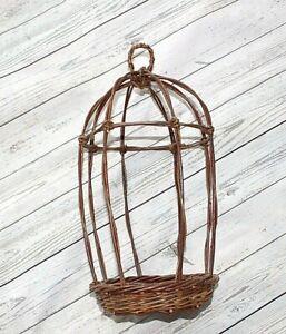 """Wicker Hanging plant holder Vtg 16"""" high Conservatory Indoor basket bottom OS"""