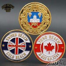 D-Day Normandie War   Juno Beach Sword Beach France   Gold Plated Coin - 3 pcs