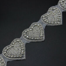 1 Yd Beaded Rhinestone Dress Clothing Sash Wedding Bridal Applique Trim Silver