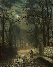 John Atkinson Grimshaw A Moonlit Night Painting 8x10 Real Canvas Art Print