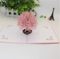 New 3D Laser Cut Cherry Blossom Tree Cards Pink Beauty Greeting Postcards Hot