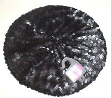 GIRLS HAT BERET AGE 12-14 YEARS BLACK SEQUINNED NEW M&S