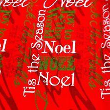 CHRISTMAS JOY TO THE WORLD ON RED COTTON FABRIC /SEASONAL PRINT FABRIC/ONE YARD